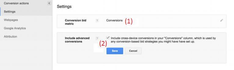 Conversion Settings View for Google AdWords